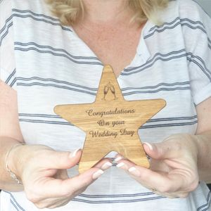 Wedding Gift Personalised Oak Wooden Star
