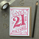 21st Birthday 21st Card Pink Chalk
