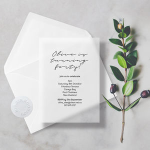 Translucent Modern Minimal Vellum Birthday Invitations - adults party invitations