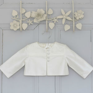 George Boys Ivory Silk Christening Jacket