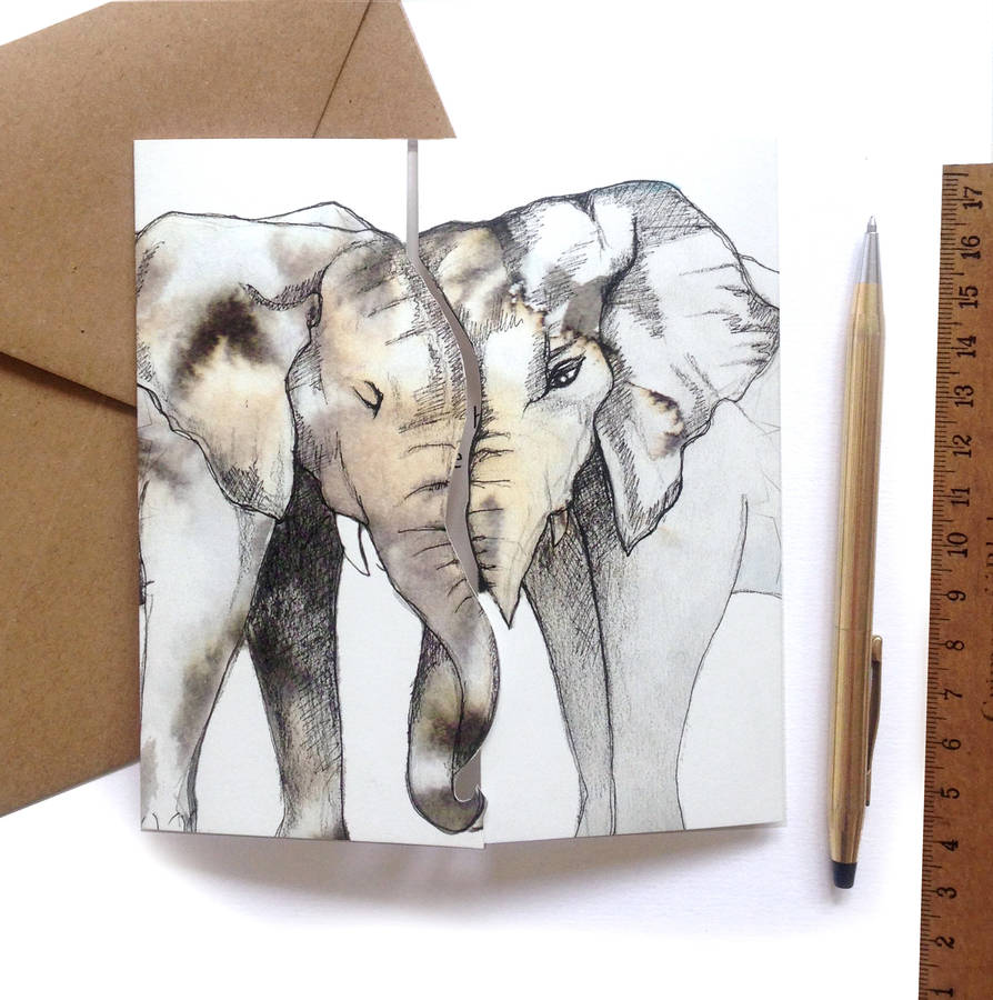 'Never Forget' Elephant Square Greeting Card