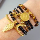 Gold Vermeil And Gemstone 'Courage' Bracelet Stack