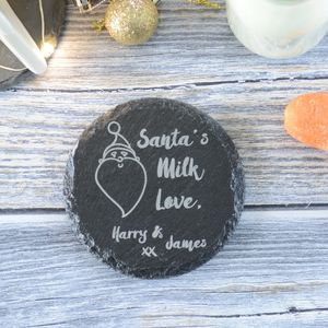 Christmas Santa's Milk Engraved Personalised Coaster - placemats & coasters