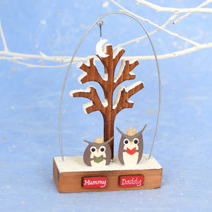 Mr And Mrs Owl In The Moonlight - snow globes & ornaments