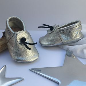 Silver Matt Leather Baby Booties - clothing