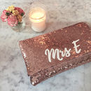 Rose Gold Sequin Mrs Initial Clutch