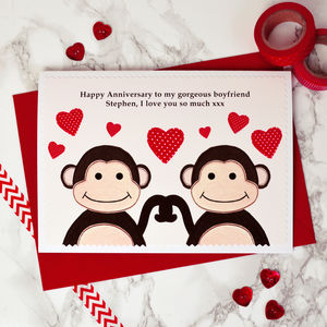 'Monkeys' Personalised Anniversary Card