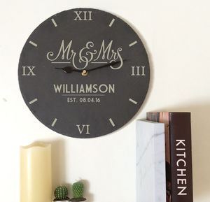 Personalised Slate Mr And Mrs Clock - home