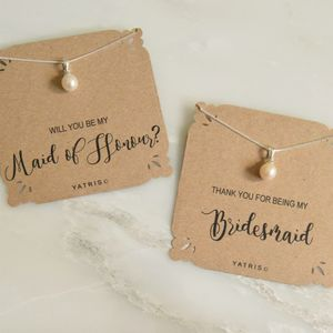 Personalised Bridesmaid Pearl Necklace Gift Box - be my bridesmaid