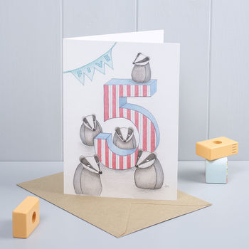 Happy 5th Birthday Badger Greeting Card