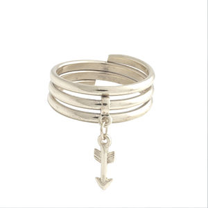Arrow Silver Charm Ring