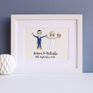 Personalised Wedding Couple Embroidered Artwork - people & portraits