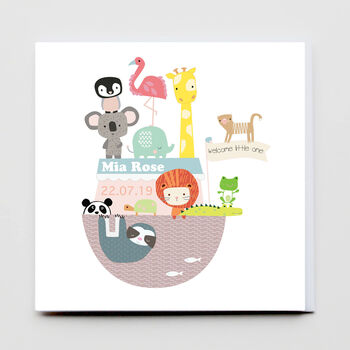 Noah's Ark New Baby Personalised Card