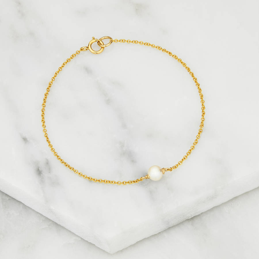 Delicate Gold Silver Rose Gold Single Pearl Bracelet By
