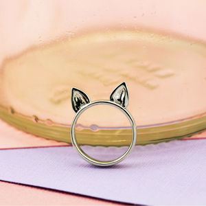 Sterling Silver 'Kitty Meow' Cat Ear Ring