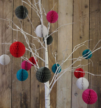 Set Of Five Paper Ball Decorations