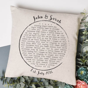 Personalised Lyrics Cushion - celebrate your favourite song
