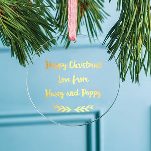 Personalised Foiled Message Decoration - tree decorations
