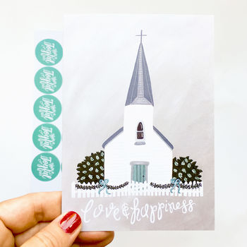 'Love And Happiness' Church Hand Painted Wedding Card