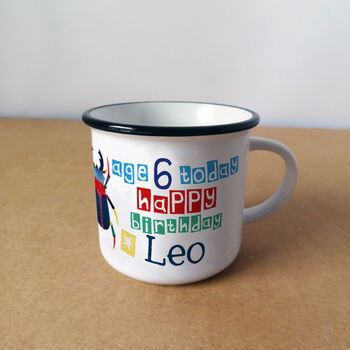 Personalised Birthday Boy's Mug With Child's Age - showing front with age and name