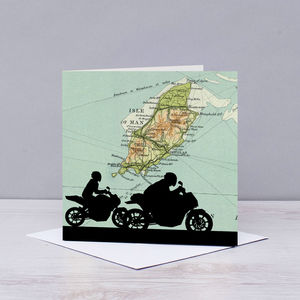Motorbike Over Map Of The Isle Of Man - blank cards