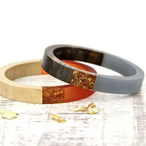 Wooden Bangle With Gold Flakes - bracelets & bangles