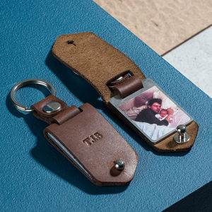 Personalised Metal Photo Keyring With Leather Case - for him