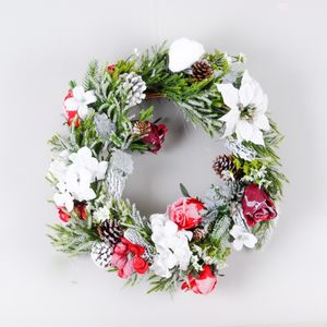Snowy Fir Red Rose Christmas Wreath - winter sale