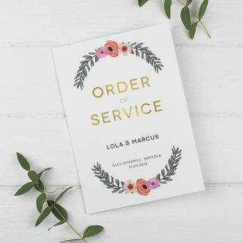 Modern Botanical Wedding Order Of Service