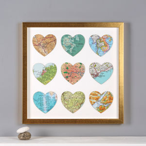 Nine Map Location Hearts Golden Anniversary Print - mixed media & collage