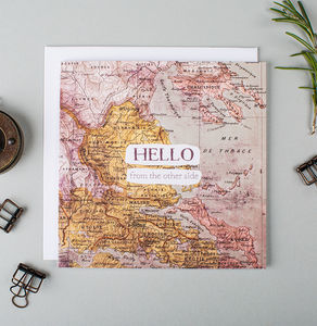 'Hello From The Other Side' Vintage Map Card