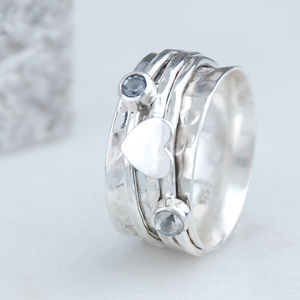 Cherish Heart Sterling Silver Spinning Ring