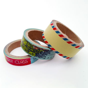 Set Of Three Travel Themed Washi Tapes