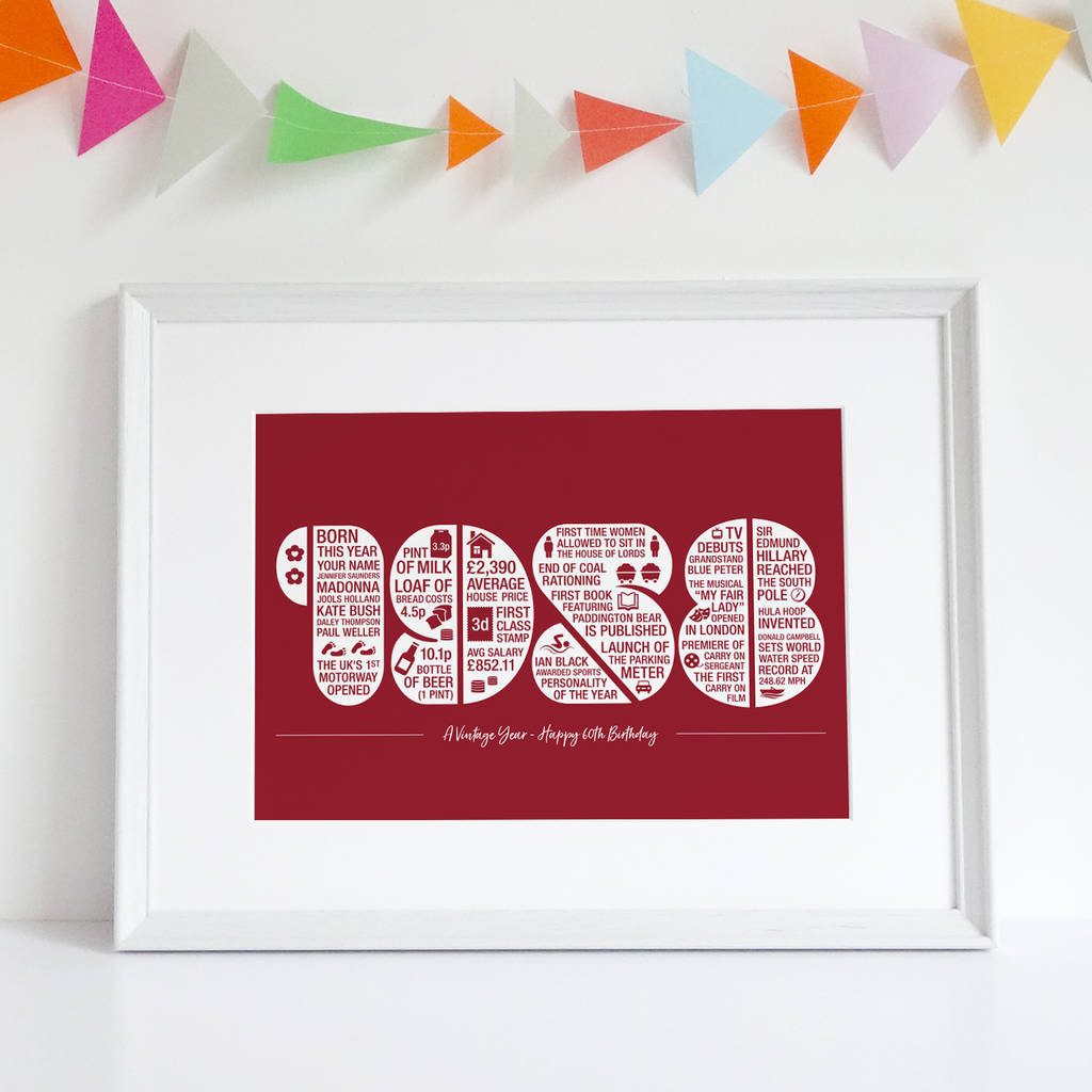 personalised 60th birthday print by intwine design ...