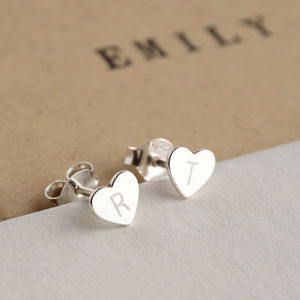 Personalised Initial Silver Heart Earrings - earrings