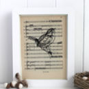 Wren Print On Vintage Music Paper