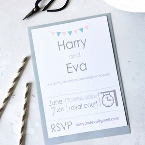 Modern Bunting Wedding Invitation