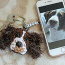 Personalised Crochet Dog Face Keyring Letterbox Gift