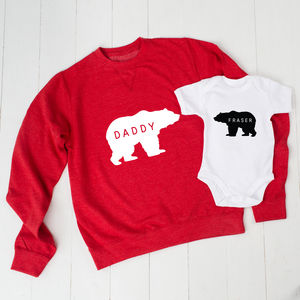 Personalised Daddy Bear Jumper And Baby Grow Set - babies' dad & me sets