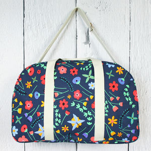 Pop Floral Print Canvas Bag