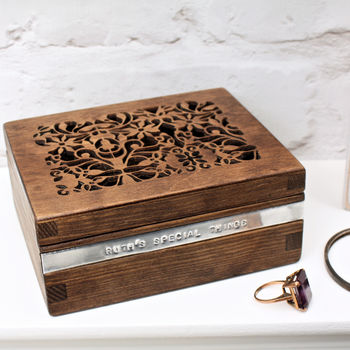 Vintage Dark Wood Personalised Trinket Box