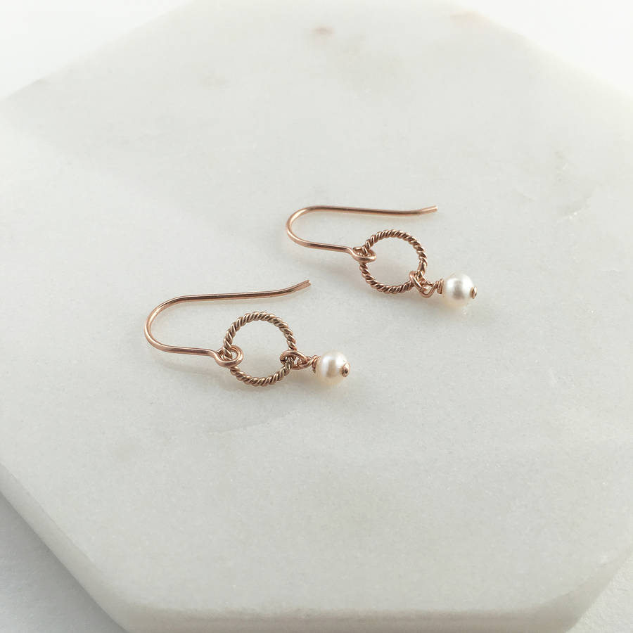 Rose Gold Pearl Drop Earrings
