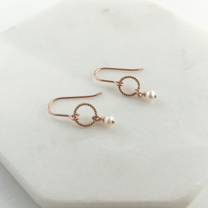 Rose Gold Pearl Drop Earrings - earrings