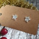 Textured Star Stud Earrings