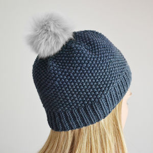 Make Your Own Faux Fur Pompom Hat Knitting Kit