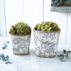 Blue And White Square Floral Pot