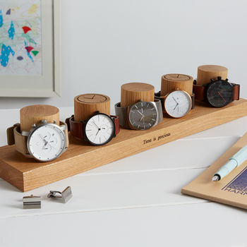 Personalised Solid Oak Watch Stand For Five Watches