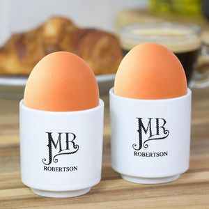 Mr And Mr Personalised Egg Cup Set - egg cups & cosies