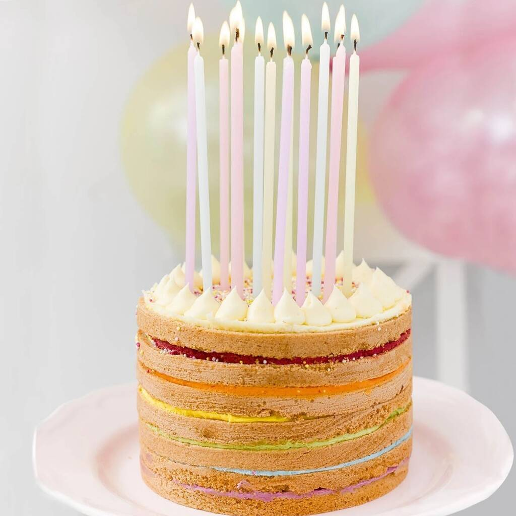 Super Tall Pastel Birthday Cake Candles Two Packs Of 16 By Bunting Funny Birthday Cards Online Overcheapnameinfo