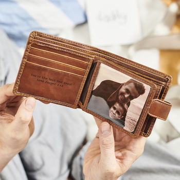Leather Tri Fold Wallet With Metal Photo Insert